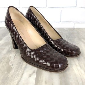 Bottega Veneta Woven Leather Heels Size 8.5